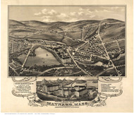 Maynard, Massachusetts 1879 Bird's Eye View - Old Map Reprint