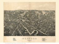 Medford, Massachusetts 1880 Bird's Eye View - Old Map Reprint