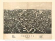 Medford, Massachusetts 1880 Bird's Eye View - Old Map Reprint