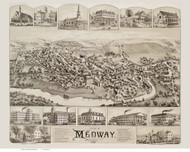 Medway, Massachusetts 1887 Bird's Eye View - Old Map Reprint BPL