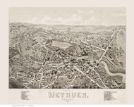Methuen, Massachusetts 1882 Bird's Eye View - Old Map Reprint BPL