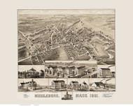 Middleboro, Massachusetts 1881 Bird's Eye View - Old Map Reprint BPL