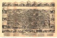 Middleboro, Massachusetts 1889 Bird's Eye View - Old Map Reprint