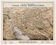 Milford, Massachusetts 1876 Bird's Eye View - Old Map Reprint BPL
