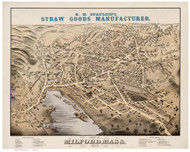 Milford, Massachusetts 1876 Bird's Eye View - Old Map Reprint BPL