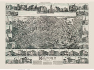 Milford, Massachusetts 1888 Bird's Eye View - Old Map Reprint BPL