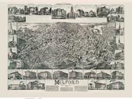 Milford, Massachusetts 1888 Bird's Eye View - Old Map Reprint BPL