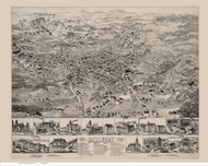 Millbury, Massachusetts 1880 Bird's Eye View - Old Map Reprint BPL
