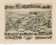 Millis, Massachusetts 1890 Bird's Eye View - Old Map Reprint BPL