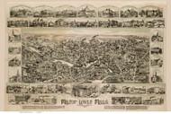 Milton - Lower Mills, Massachusetts 1890 Bird's Eye View - Old Map Reprint BPL