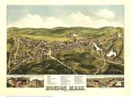 Monson, Massachusetts 1879 Bird's Eye View - Old Map Reprint