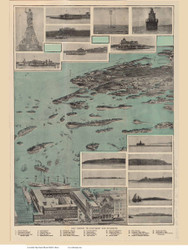 Nantasket Beach, Plymouth, and Boston, Massachusetts ca 1915 Bird's Eye View - Old Map Reprint BPL