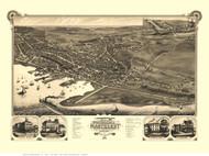 Nantucket, Massachusetts 1881 Bird's Eye View - Old Map Reprint
