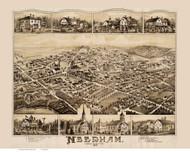 Needham, Massachusetts 1887 Bird's Eye View - Old Map Reprint BPL