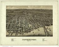 Newburyport, Massachusetts 1880 Bird's Eye View - Old Map Reprint BPL