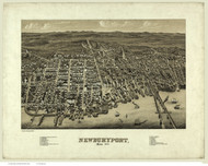 Newburyport, Massachusetts 1880 Bird's Eye View - Old Map Reprint BPL