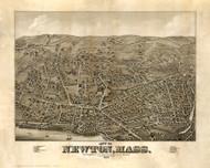 Newton, Massachusetts 1878 Bird's Eye View - Old Map Reprint