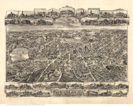 Newton Center , Massachusetts 1897 Bird's Eye View - Old Map Reprint