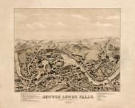 Newton Lower Falls, Massachusetts 1880 Bird's Eye View - Old Map Reprint BPL
