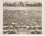 Newton Upper Falls, Massachusetts 1888 Bird's Eye View - Old Map Reprint BPL
