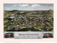 Northborough, Massachusetts 1887 Bird's Eye View - Old Map Reprint