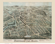 Northampton, Massachusetts 1875 Bird's Eye View - Old Map Reprint BPL