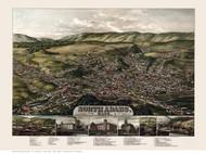 North Adams, Massachusetts 1881 Bird's Eye View - Old Map Reprint