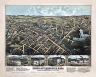 North Attleboro, Massachusetts 1878 Bird's Eye View - Old Map Reprint