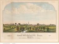 North Bridgewater, Massachusetts 1844 Bird's Eye View - Old Map Reprint BPL