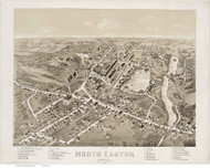 North Easton, Massachusetts 1881 Bird's Eye View - Old Map Reprint BPL