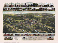 Norton, Massachusetts 1891 Bird's Eye View - Old Map Reprint