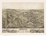 Norwood, Massachusetts 1882 Bird's Eye View - Old Map Reprint BPL