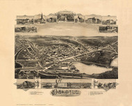 Oakdale, Massachusetts 1891 Bird's Eye View - Old Map Reprint