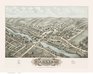 Orange, Massachusetts 1878 Bird's Eye View - Old Map Reprint BPL
