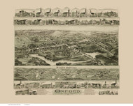 Oxford, Massachusetts 1891 Bird's Eye View - Old Map Reprint BPL