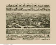 Oxford, Massachusetts 1891 Bird's Eye View - Old Map Reprint BPL