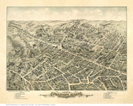 Peabody, Massachusetts 1877 Bird's Eye View - Old Map Reprint
