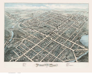 Pittsfield, Massachusetts 1876 Bird's Eye View - Old Map Reprint BPL