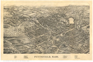 Pittsfield, Massachusetts 1899 Bird's Eye View - Old Map Reprint