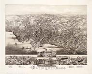 Plymouth, Massachusetts 1882 Bird's Eye View - Old Map Reprint