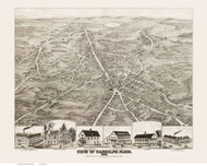 Randolph, Massachusetts 1882 Bird's Eye View - Old Map Reprint BPL