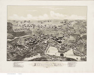Saxonville, Massachusetts 1882 Bird's Eye View - Old Map Reprint BPL