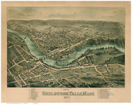 Shelburne Falls, Massachusetts 1877 Bird's Eye View - Old Map Reprint