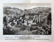 Shelburne Falls - Lamson, Goodnow & Co., Massachusetts ca 1890 Bird's Eye View - Old Map Reprint