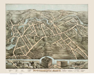 Southbridge, Massachusetts 1878 Bird's Eye View - Old Map Reprint BPL