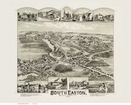 South Easton, Massachusetts 1888 Bird's Eye View - Old Map Reprint BPL