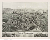 South Framingham, Massachusetts 1882 Bird's Eye View - Old Map Reprint BPL