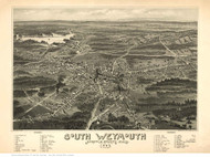 South Weymouth, Massachusetts 1885 Bird's Eye View - Old Map Reprint