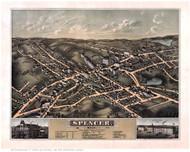 Spencer, Massachusetts 1877 Bird's Eye View - Old Map Reprint