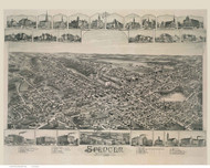 Spencer, Massachusetts 1892 Bird's Eye View - Old Map Reprint BPL